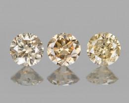 *No Reserve*Diamond 0.16 Cts 3pcs Fancy Pinkish Brown  Natural
