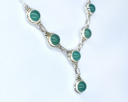 GREEN ONYX NECKLACE NATURAL GEM 925 STERLING SILVER AN49