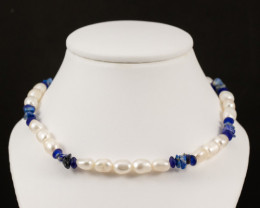 Natural Freshwater Pearl with Lapis Lazuli Chip Beads