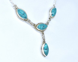 TURQUOISE NECKLACE NATURAL GEM 925 STERLING SILVER AN50