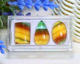 Fluorite 38.10Ct 3Pcs Natural Multicolor Fluorite Box B2603
