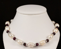 Natural Freshwater Pearl with Garnet and Quartz Spheres *Silver Clasp*