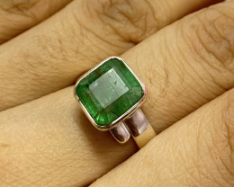 Natural Emerald925 Silver Ring Size US (8) 615
