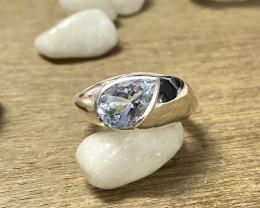 Natural Aquamarine 925 Silver Ring Size US (7.5) 658