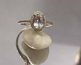 Natural Aquamarine 925 Silver Ring Size US (7) 653