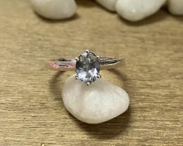 Natural Aquamarine 925 Silver Ring Size US (7) 622