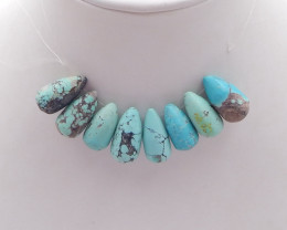 D1714 - 76cts Natural Turquoise Necklace ,Handmade Gemstones,Lucky Stone