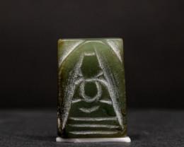 39ct Natural Burmese Jade  Buddha Carving
