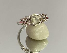 Natural Aquamarine 925 Silver Ring Size US (7.5) 604
