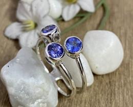 Natural Tanzanite 925 Silver Ring Size US (12) 602