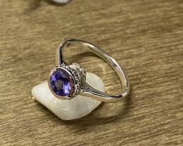 Natural Tanzanite 925 Silver Ring Size US (7) 641