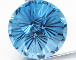 12.27Cts Stunning Natural London Blue Topaz Round precision Cut Loose Gem