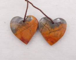 D1721 - 26.5cts natural multi-color picasso jasper earrings pair,multi-colo