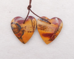 D1722 - 32.5cts natural multi-color picasso jasper earrings pair,multi-colo