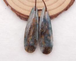 D1730 - 27.5cts natural ocean jasper earrings bead pair, water drop gemston
