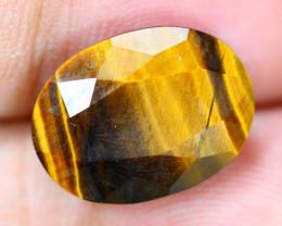 8.07ct Natural Golden Tiger Eye Faceted Oval Cut Lot V9270