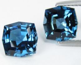 5.04Cts Sparkling Natural London  Blue Topaz Cushion Custom Cut Matching Pa