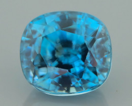 Blue Zircon 3.85 ct VVS AAA Color Saturation Cambodian Mined  SKU.17