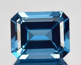 ~EMERALD CUT~ 4.44 Cts Beautiful Natural Blue Topaz Brazil