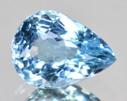 ~GORGEOUS~ 1.75 Cts Natural Blue Aquamarine Pear Cut Brazil
