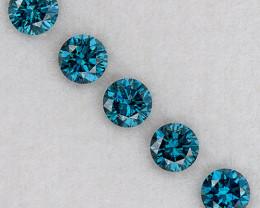 1.9mm matched 5 pcs set AAA Natural Blue Diamonds Round