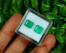 Emerald 3.82Ct 2Pcs Octagon Cut Natural Zambian Green Emerald C2918