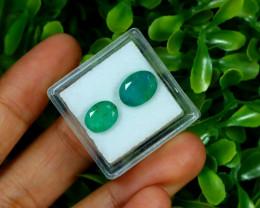 Emerald 4.03Ct 2Pcs Oval Cut Natural Zambian Green Emerald C2930