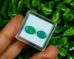 Emerald 3.00Ct 2Pcs Oval Cut Natural Zambian Green Emerald C2934