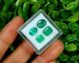 Emerald 4.40Ct 4Pcs Natural Zambian Green Color Emerald B3016