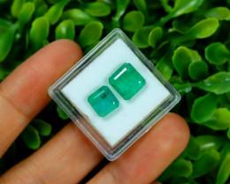 Emerald 4.72Ct 2Pcs Octagon Cut Natural Zambian Green Emerald B3026