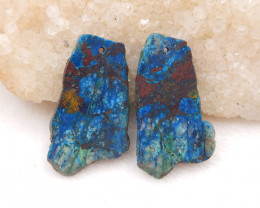 D1771 - 50cts Chrysocolla earrings besd pair,natural gemstone ,Free shape e