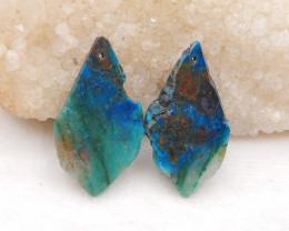 D1772 - 52cts Chrysocolla earrings bead pair,natural gemstone ,Free shape e