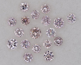 0.22 ct of 18 pcs 1.36-1.70mm Loose Natural Pink Diamond Round Parcel