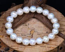 10.0mm 128Ct Australian South Sea Creamy White Pearl Bracelet F2636