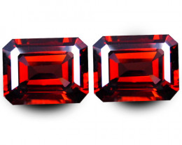 4.92Cts Genuine Natural Unheated Almandaine Garnet Emerald Cut Pair