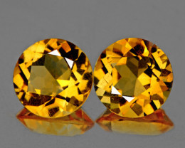 9.00 mm Round 2pcs 4.30cts Golden Yellow Citrine [VVS]