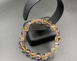 26 Gm Excellent Mix Amethyst,Citrine/ Ametrine Faceted Beads Bracelet. Amt-