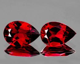 9x6 mm Pear 2 pcs 3.04ct Red Garnet [VVS]