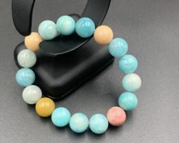 38 Gm Excellent Multi Color Amazonite Beads Bracelet. Amz-633