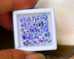 6.57ct Natural Violet Blue Tanzanite 4.1mm Round Cut Lot GW8755