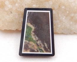 D1796 - 67cts Natural Mushroom Jasper,White Agate,Obsidian Intarsia Pendant