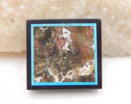 D1801 - 88.5cts Natural Jasper,Howlite,Obsidian Intarsia Pendant Bead
