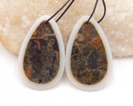 D1805 - 68cts Natural Multi Color Jasper,White Agate Intarsia Earring Beads