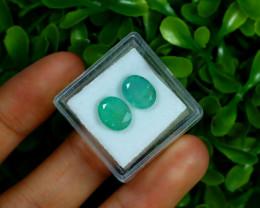Zambian 4.31Ct 2Pcs Natural Green Color Emerald Box F3030