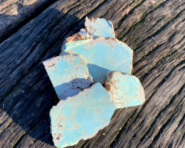 Natural Australian Turquoise, Ammarroo, NT, 1952. Natural slabbed rough.