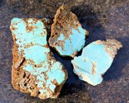 Natural Australian Turquoise, Ammarroo, NT, 1952. Turquoise slabs x3