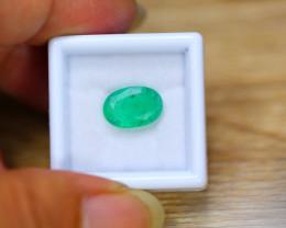 2.55ct Natural Zambia Green Emerald Oval Cut Lot V7403