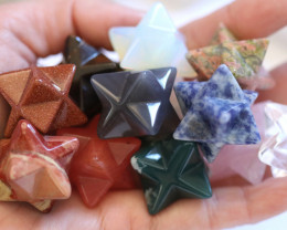 Chakra star set of 12 gemstones six pointed stars AHA 592