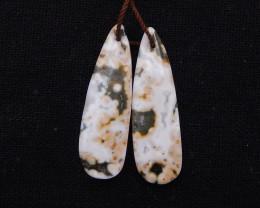 D1826 - 19.5cts Beautiful Ocean Jasper Earrings Bead Pair,Natural Jasper Su