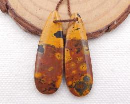 D1828 - 27cts Beautiful Ocean Jasper Earrings Bead Pair,Natural Jasper Summ